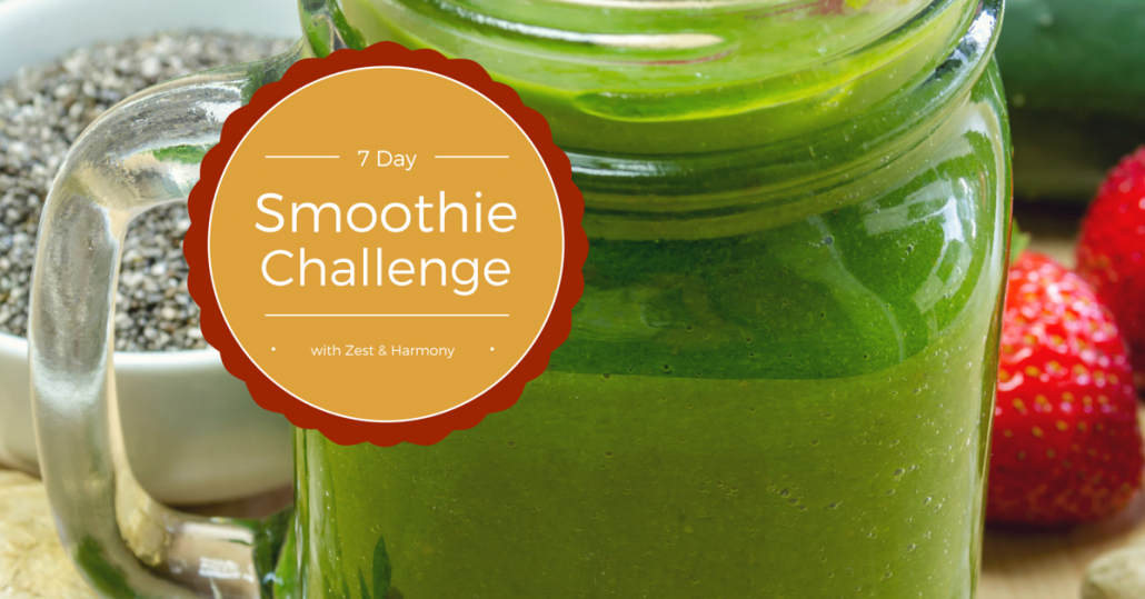 Zest & Harmony 7 day smoothie challenge, to eat healthy while nourishing the chakras.